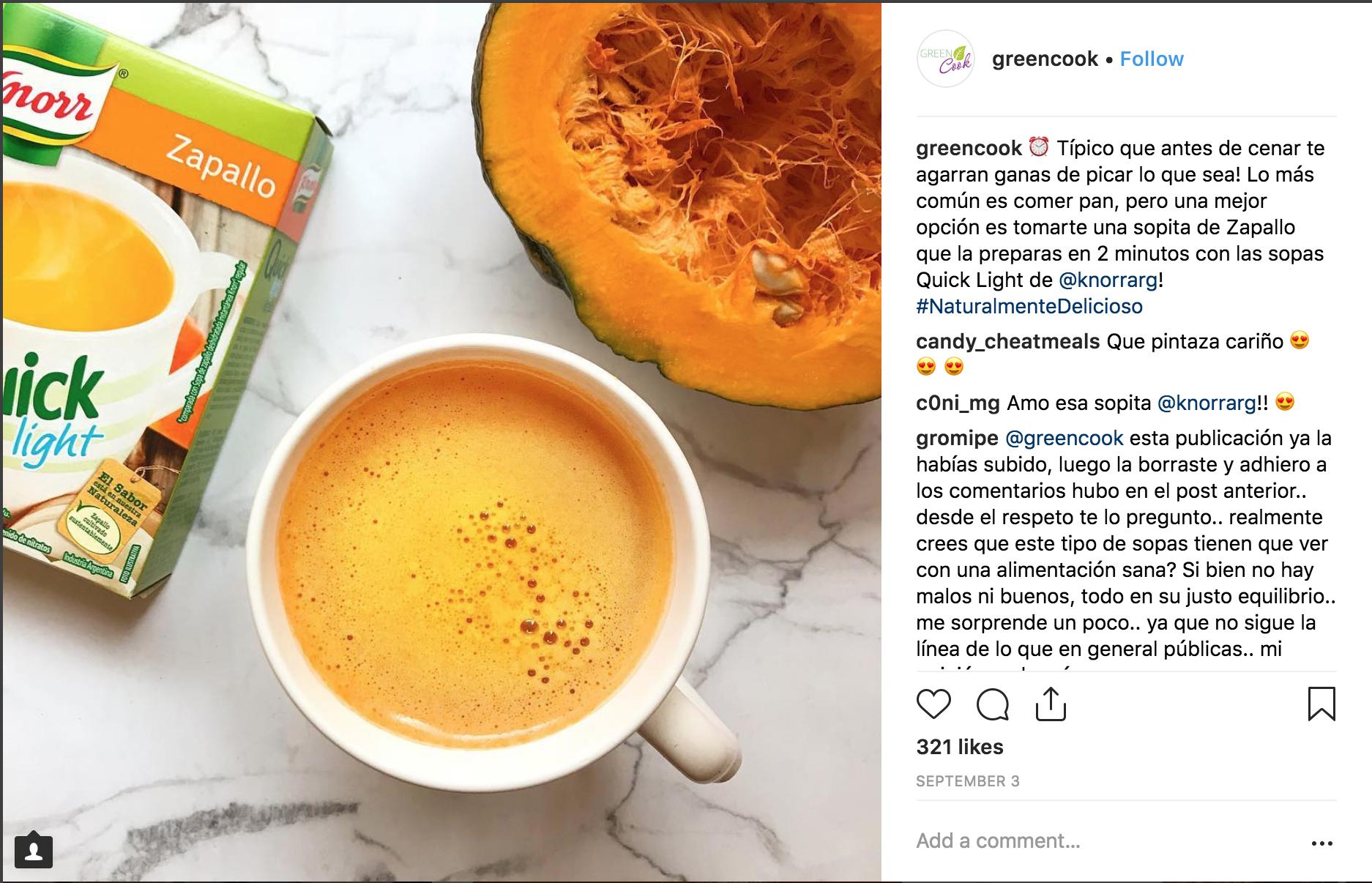 Instagram fallido greencook